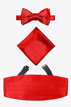 Candy Apple Red Self Tie Bow Tie Cummerbund Set