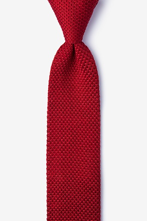 _Classic Solid Red Knit Skinny Tie_
