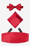 Red Silk Crimson Pretied Bow Tie Cummerbund Set