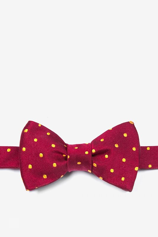 Crimson With Gold Dots Butterfly Bow Tie