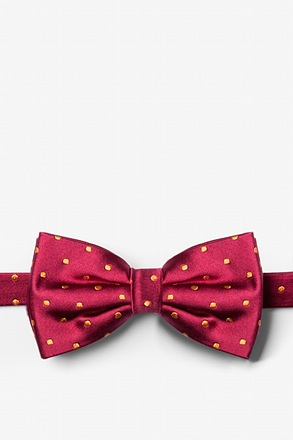 Crimson With Gold Dots Pre-Tied Bow Tie