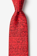 Red Silk Declaration of Independence Extra Long Tie