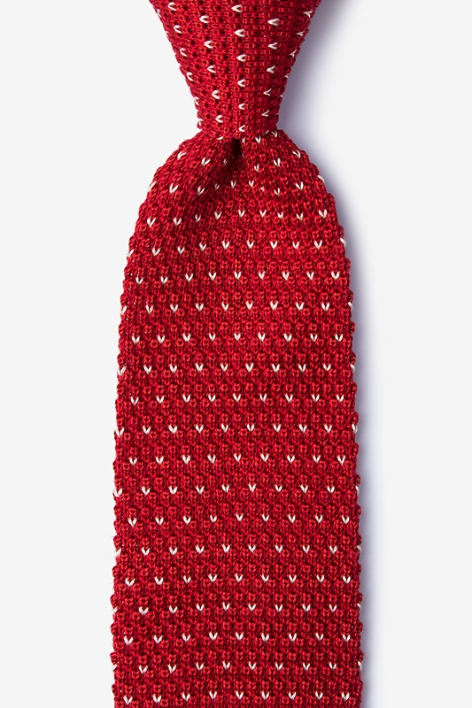Laos Red Knit Tie Photo (0)