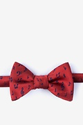 Red Silk Let's Compare Notes Butterfly Bow Tie