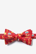 Red Silk Musical Instruments Self-Tie Bow Tie