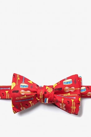 _Musical Instruments Red Self-Tie Bow Tie_