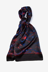 Red Silk Neurons Oblong Scarf