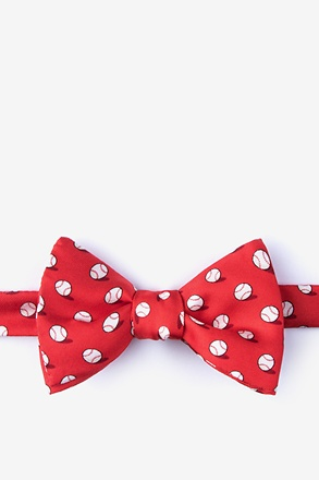 _No Hitter Red Self-Tie Bow Tie_