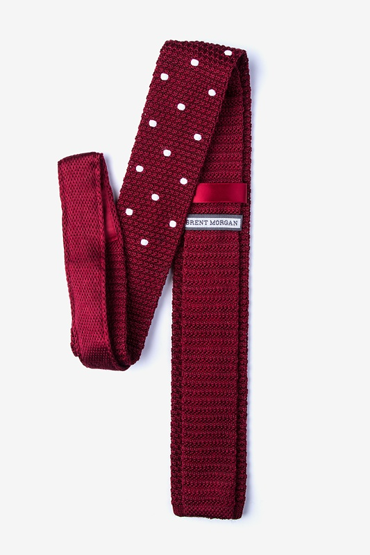 Polka Dot Red Knit Skinny Tie