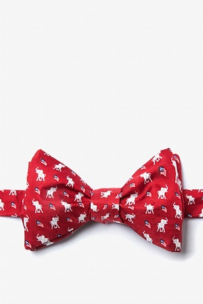 Republican Elephants Red Self-Tie Bow Tie