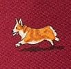 Red Silk Rowdy Corgis Extra Long Tie