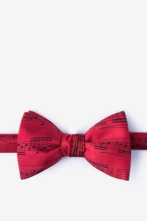 Sheet Music Red Self-Tie Bow Tie