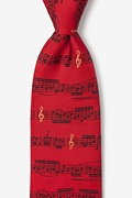 Red Silk Sheet Music Tie