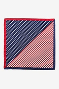 Red Silk Stars and Bars Pocket Square