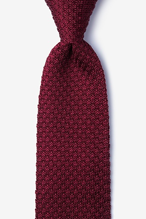 _Textured Solid Red Knit Tie_