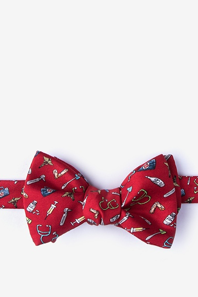 Image of Red Silk Trust Me, I'm a Doctor Self-Tie Bow Tie