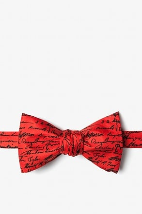 U.S. Presidential Signatures Red Self-Tie Bow Tie