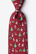 Red Silk Very Merry Extra Long Tie