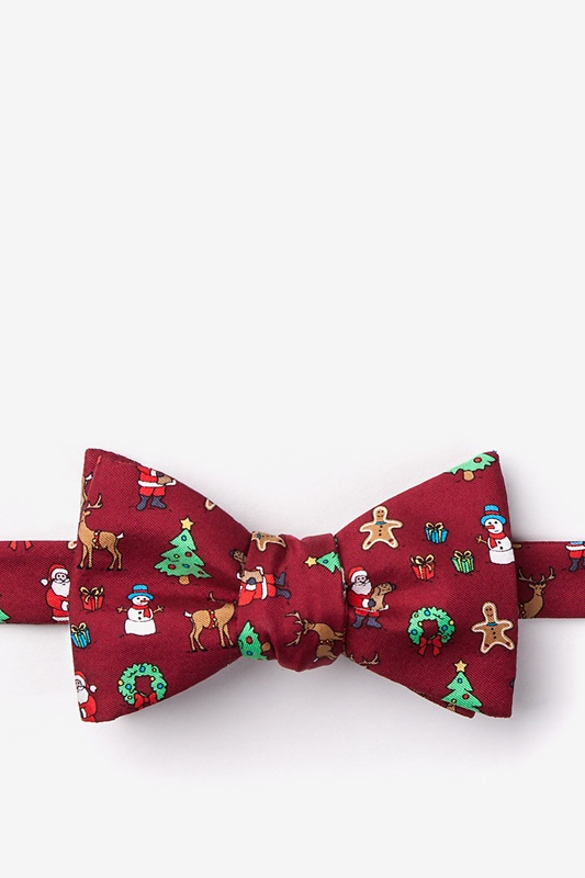 Very Merry Red Self-Tie Bow Tie Photo (0)