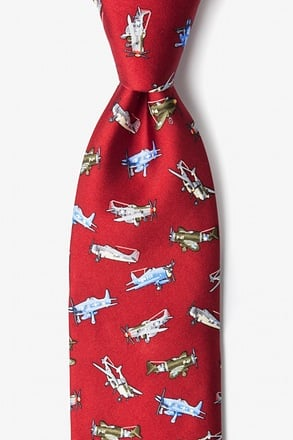 WWII Fighter Planes Red Tie