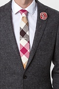 Red Piped Flower Lapel Pin