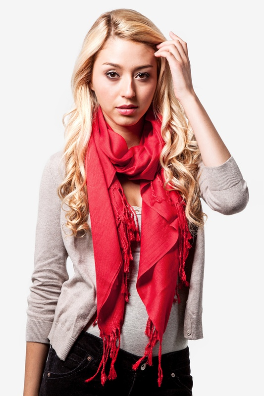 Bright Red Pashmina by Scarves.com