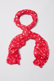 Red Viscose Golden Hearts Scarf