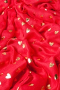 Golden Hearts Red Scarf by Scarves.com