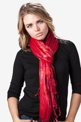 Red Viscose Rainbow Sparkle Scarf