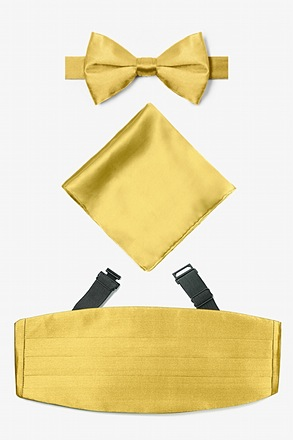 Rich Gold Pretied Bow Tie Cummerbund Set