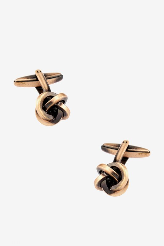 Brushed Knot Rose Gold Cufflinks Photo (0)
