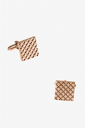 Criss-Cross Square Rose Gold Cufflinks