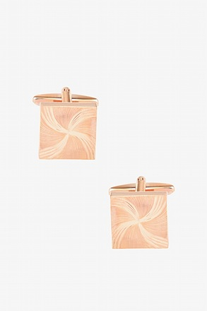 Curved Pinwheel Rose Gold Cufflinks
