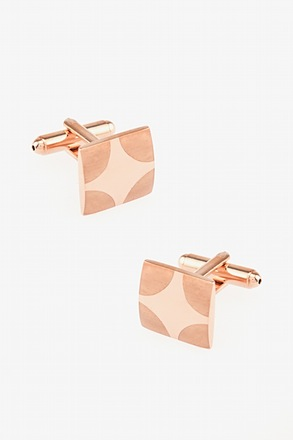 Matte Rounded Edges Rose Gold Cufflinks