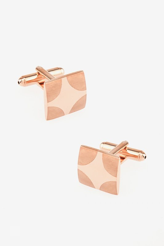 Matte Rounded Edges Rose Gold Cufflinks Photo (0)