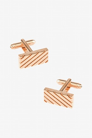 Rectangle Grooves Rose Gold Cufflinks