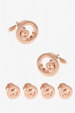 Set Solid Encircled Round Cufflink & Stud Set