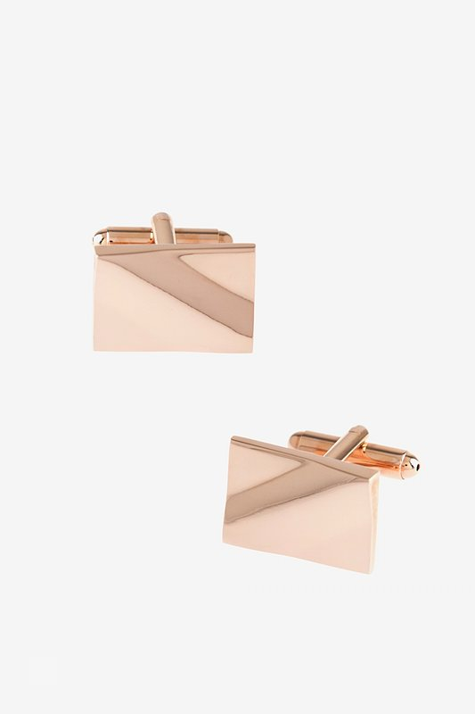 Solid Slanted Rectangle Rose Gold Cufflinks Photo (0)