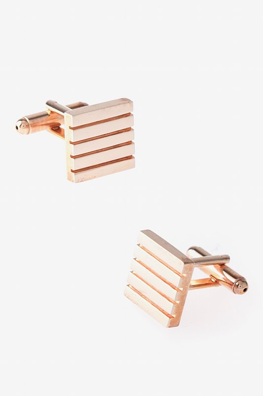 Solid Striped Square Rose Gold Cufflinks Photo (0)