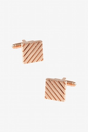 Square Grooves Rose Gold Cufflinks