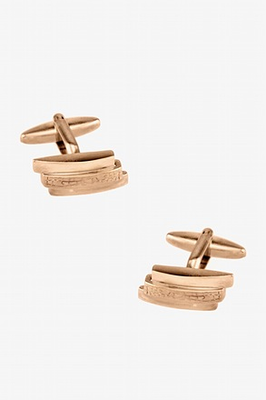 Textured Horizontal Bars Rose Gold Cufflinks