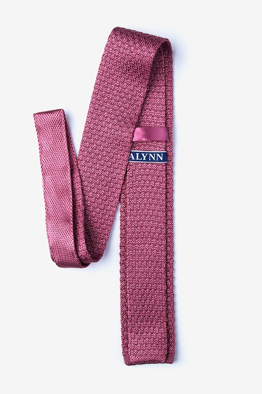Textured Solid Rose Knit Skinny Tie Photo (1)