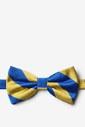 Royal Blue Microfiber Royal Blue & Gold Stripe Pre-Tied Bow Tie