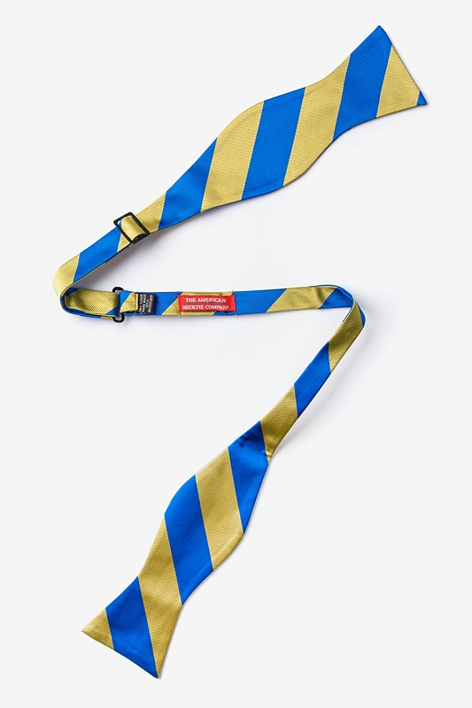 Royal Blue & Gold Stripe Self-Tie Bow Tie Photo (1)