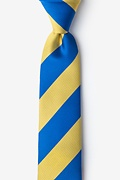 Royal Blue Microfiber Royal Blue & Gold Stripe Skinny Tie