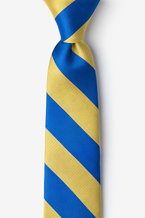 Royal Blue & Gold Stripe Tie For Boys