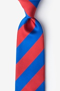 Royal Blue Microfiber Royal Blue & Red Stripe Extra Long Tie