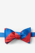 Royal Blue Microfiber Royal Blue & Red Stripe Self-Tie Bow Tie