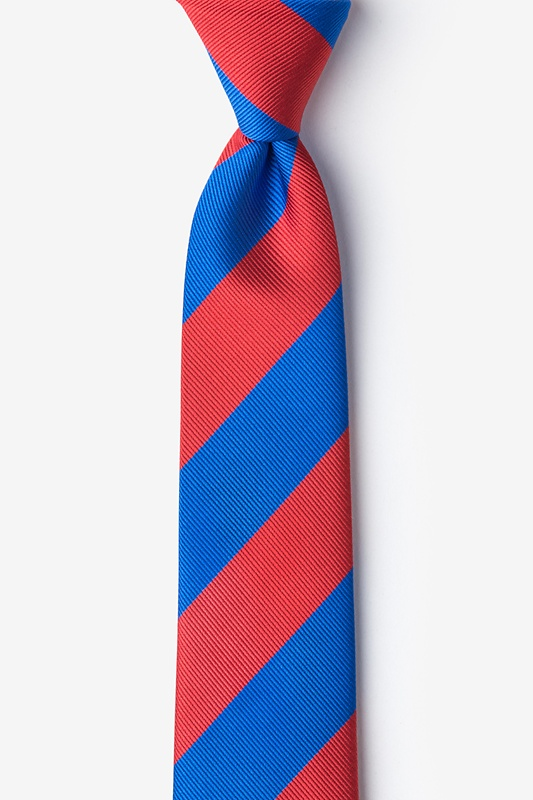 Royal Blue & Red Stripe Tie For Boys Photo (0)