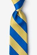 Royal Blue Microfiber Royal Blue & Gold Stripe Extra Long Tie